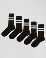 Asos Sport Style Socks 5 Pack In Black With Stripes