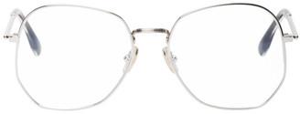 Victoria Beckham Silver Oversized Angular Glasses