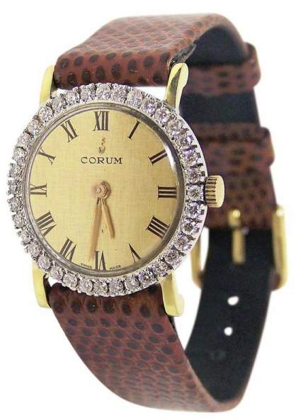Corum 27307 18K Yellow Gold / Leather Vintage 24mm Womens Watch