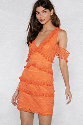 Nasty Gal Womens Get into the Swing of Things Tassel Dress - Orange