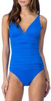 Lauren Ralph Lauren Solid Ruched One-Piece Swimsuit
