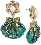 Betsey Johnson Gold-Tone Crystal & Imitation Pearl Seashell Drop Earrings