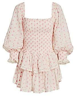LoveShackFancy Women's Raelyn Smocked Ruffled Mini Dress