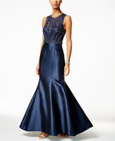 Xscape Evenings Beaded Satin Mermaid Gown