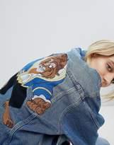 Pull&Bear Oversized Beauty & The Beast Denim Jacket