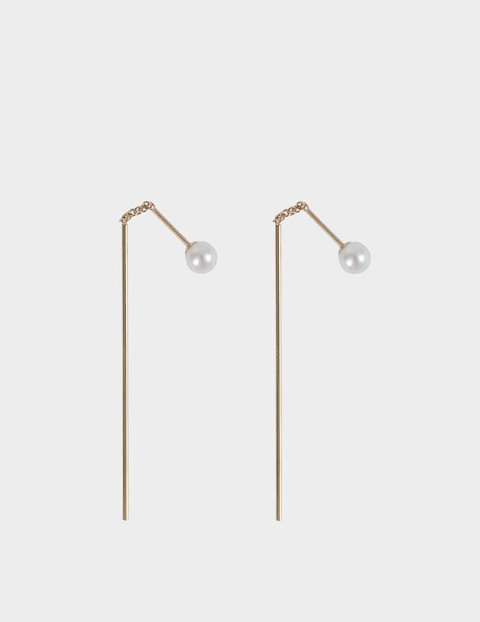 Mizuki Bar thread thru pearl earrings