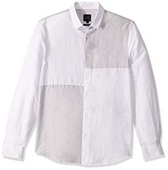 Armani Exchange A|X Men's Color Blocked Long-Sleeved Button Down