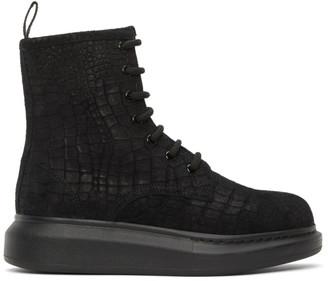 Alexander McQueen Black Suede Croc Hybrid Combat Boots