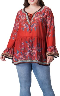 Flying Tomato Boho Bell Sleeve Top (Plus Size)