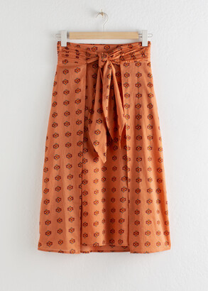 And other stories Printed Knot Tie Midi Skirt
