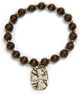 Lifeway LifeWay Bracelets - Wood & Goldtone Embossed Cross Beaded Stretch Bracelet
