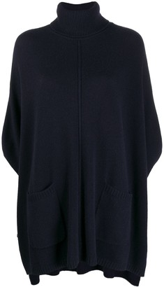 N.Peal Exposed Seam Roll-Neck Poncho
