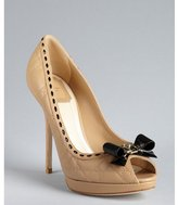 Christian Dior nude stitched leather bow peep toe platform pumps
