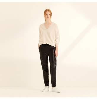 Amanda Wakeley Black Leather Cuff Trousers