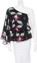 Halston Silk One-Shoulder Top