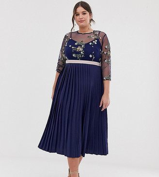 Little Mistress Plus embroidered top midi dress in navy