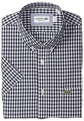 Lacoste Long Sleeve Popeline Button-Down Casual Shirt (Navy Blue/White) Men's Clothing