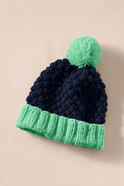 Lands' End Women's Chunky Knit Pom-Pom Hat