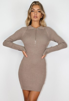 Missguided Stone Collared Knit Mini Dress