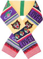 Gucci striped symbols scarf