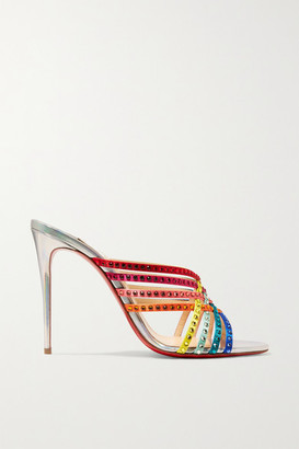Christian Louboutin Marthastrass 100 Embellished Silk-satin And Iridescent Leather Mules - Metallic