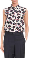 Givenchy Button-Down Sleeveless Lily Floral-Print Silk Blouse