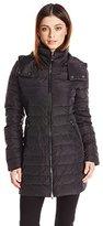 Armani Jeans Women's Caban Detachable Hood Longer Puffer Jacket