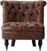 Home Decorators Collection Flanders 32 in. W Faux Suede Brown Accent Chair