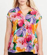Lauren Ralph Lauren Plus V-Neck Cap Sleeve Floral Print Top