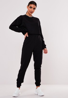 Missguided Tall Black Cropped Sweatshirt And Joggers Co Ord Set