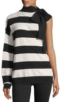 Robert Rodriguez Striped One-Shoulder Wool-Cashmere Pullover Sweater