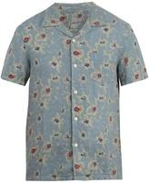 120% Lino 120 LINO Floral-print short-sleeved linen shirt