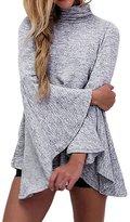 Kalin L Women Turtleneck Knit Oversized Flared Bell Sleeve Irregular Hem Blouses