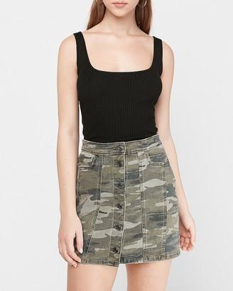 Express High Waisted Button Front Camo Denim Mini Skirt