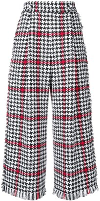 MSGM Wide-Leg Houndstooth Trousers