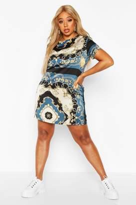 boohoo Plus Satin Chain Print Shift Dress