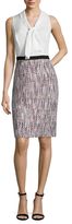 Oscar de la Renta Silk Neck Tie Contrast Sheath Dress