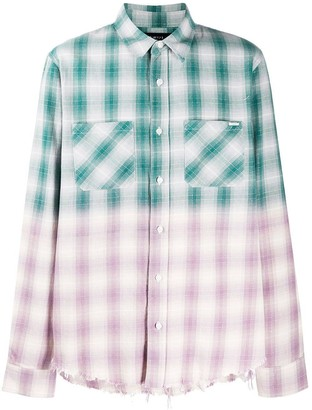 Amiri Distressed Ombre Plaid Button-down Green