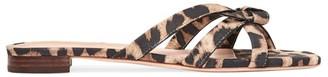 Loeffler Randall Eveline Knotted Leopard-Print Suede Flat Sandals