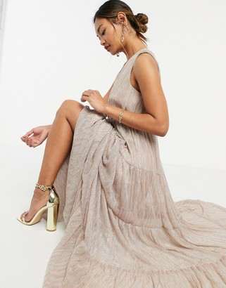 Traffic People tiered maxi dress in gold