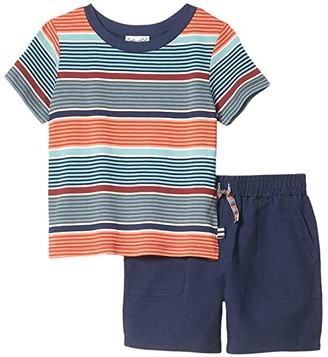 Splendid Littles Multi Stripe Tee Set (Toddler/Little Kids/Big Kids) (Vista Teal) Boy's Active Sets