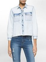 Calvin Klein Womens Bleached Denim High-Low Shirt