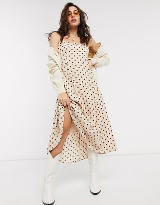 Object midi dress in cream polka dot