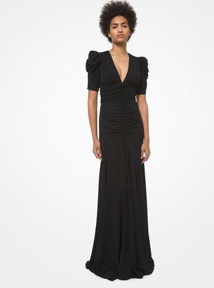 Michael Kors Collection Ruched Stretch Matte Jersey Gown