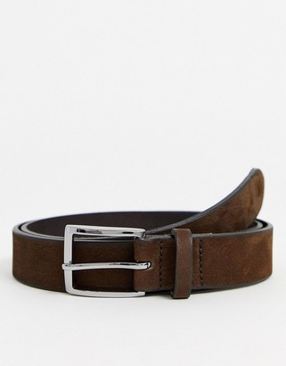 ASOS DESIGN leather slim belt in brown with burnishing detail and silver buckle