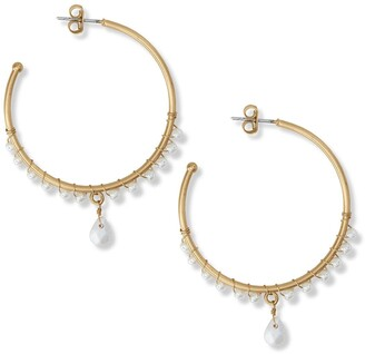 Lucky Brand Faux Pearl Drop 54mm Hoop Earrings