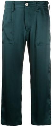Jejia Silk Cropped Straight Leg Trousers