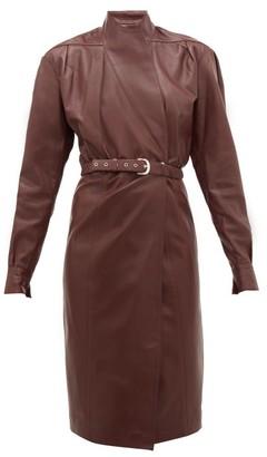 Dodo Bar Or Tony Belted Leather Wrap Dress - Burgundy