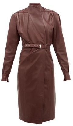 Dodo Bar Or Tony Belted Leather Wrap Dress - Womens - Burgundy
