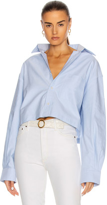 R 13 Oversized Cropped Button Up Shirt in Light Blue | FWRD